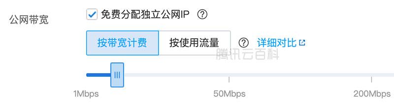 腾讯云公网宽带价格表大全(按带宽计费+按使用流量)