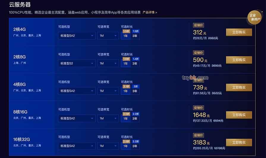 腾讯云企业用户云服务器配置优惠价格表