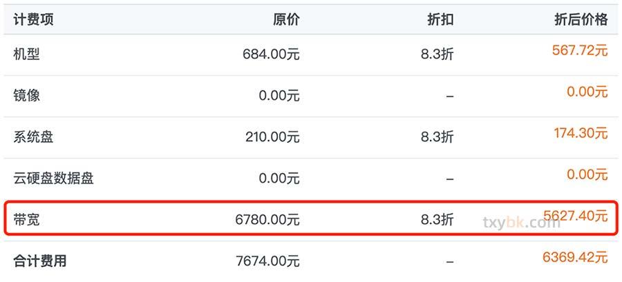 腾讯云服务器10M带宽价格表(收费标准)