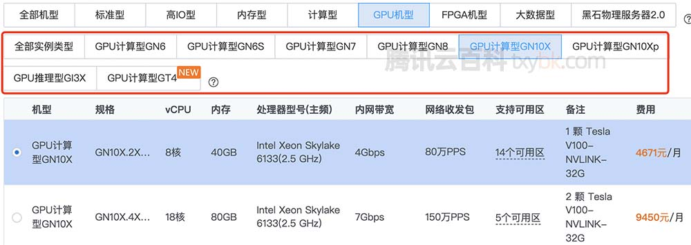 腾讯云GPU服务器NVIDIA和AMD系列GPU实例规格清单