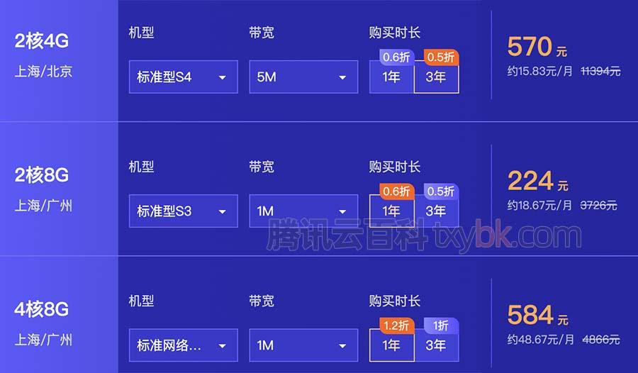 腾讯云服务器2核4G5M带宽优惠价三年570元标准型S4实例
